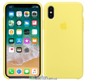 Оригинальный силиконовый чехол для iPhone X/Xs Желтый