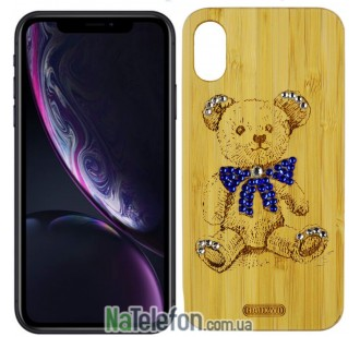 Чехол Bamboo Wooden Case with Diamonds для iPhone Xr Медведь
