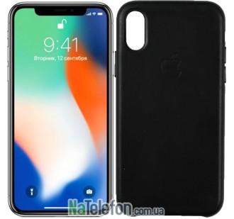 Чехол Apple Leather Case для iPhone Xr Black