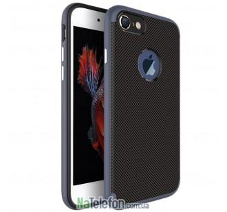 Карбоновый чехол с металлическими вставками для iPhone 7/8 Navy Blue