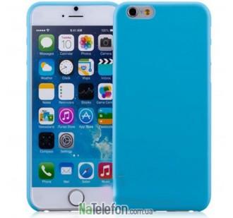 Чехол силиконовый матовый 0.3 для iPhone 6 Plus blue