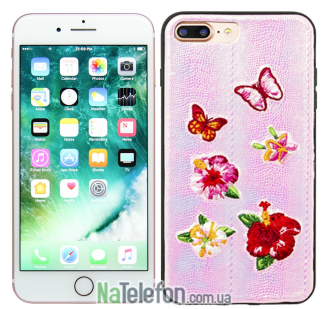 Накладка Diliana flower&butterfly for iPhone 7 Plus/8 Plus розовая
