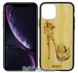 Чехол Bamboo Wooden Case with Diamonds для iPhone 11 Pro (5.8) Дамская туфелька