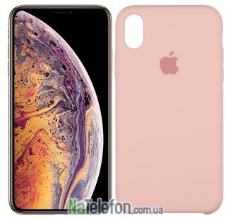 Оригинальный силиконовый чехол для iPhone Xr Светло Розовый