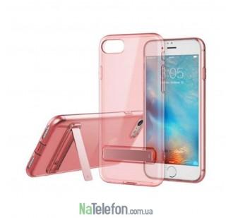 "TPU чехол ROCK Slim Jacket с функцией подставки для Apple iPhone 7 (4.7"") (Розовый / Transparent pink)"