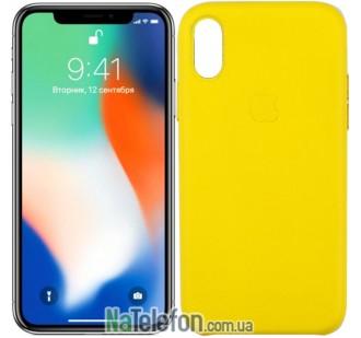 Чехол Apple Leather Case для iPhone Xr Yellow