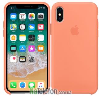 Оригинальный силиконовый чехол для iPhone X/Xs Светло Оранжевый