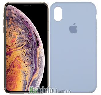 Оригинальный силиконовый чехол для iPhone Xs Max Голубой