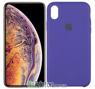 Оригинальный силиконовый чехол для iPhone Xs Max Тёмно Фиолетовый