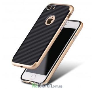 Карбоновый чехол с металлическими вставками для iPhone 7/8 Gold