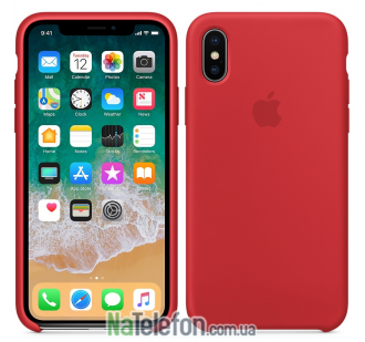 Оригинальный силиконовый чехол для iPhone Xs Max Красный