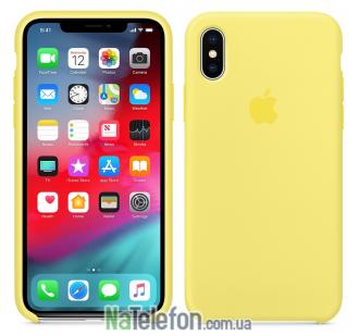 Оригинальный силиконовый чехол для iPhone Xs Max Лимонный