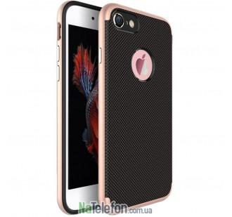 Карбоновый чехол с металлическими вставками для iPhone 7/8 Rose Gold
