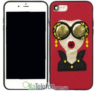 Накладка Diliana Girl with glass for iPhone 7/8 красная