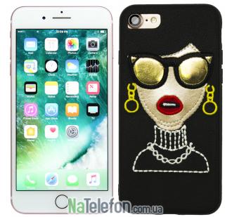 Накладка Diliana Girl with glass for iPhone 7/8 черная