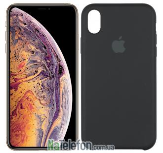 Оригинальный силиконовый чехол для iPhone Xs Max Чёрный