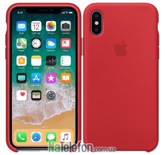 Оригинальный силиконовый чехол для iPhone X/Xs Красный