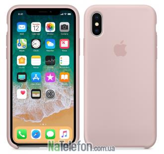 Оригинальный силиконовый чехол для iPhone Xs Max Светло Розовый