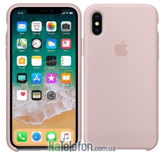 Оригинальный силиконовый чехол для iPhone X/Xs Светло Розовый