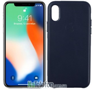 Чехол Apple Leather Case для iPhone Xs Max Dark Blue