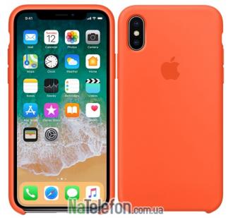 Оригинальный силиконовый чехол для iPhone X/Xs Оранжевый