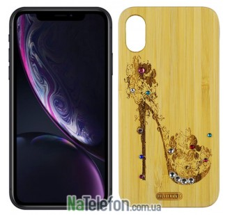 Деревянный чехол Bamboo Wooden Case with Diamonds для iPhone Xs Max Lady`s shoes