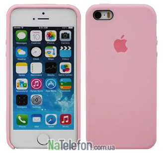 Оригинальный силиконовый чехол для iPhone 5/5s/SE Ярко розовый