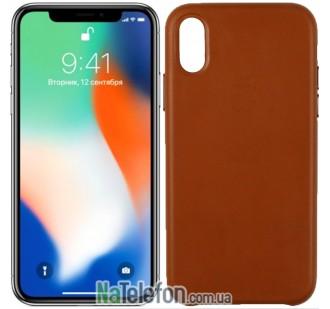 Чехол Apple Leather Case для iPhone Xs Max Brown