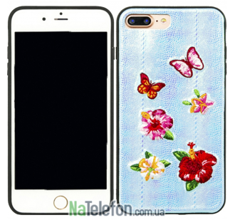 Накладка Diliana flower&butterfly for iPhone 7 Plus/8 Plus голубая