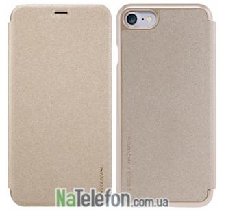 Кожаный чехол книжка NILLKIN Sparkle series для iPhone 7/8 Gold