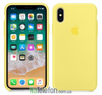 Оригинальный силиконовый чехол для iPhone X/Xs Лимонный