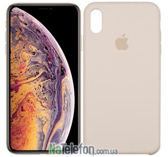 Оригинальный силиконовый чехол для iPhone Xs Max Бежевый