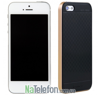 Накладка iPaky (OR) Carbon TPU + Bumper for iPhone 5 Gold