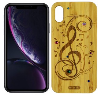 Чехол Bamboo Wooden Case with Diamonds для iPhone Xr Мелодия