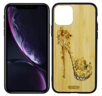 Чехол Bamboo Wooden Case with Diamonds для iPhone 11 (6.1) Дамская туфелька