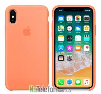 Оригинальный силиконовый чехол для iPhone Xs Max Светло Оранжевый