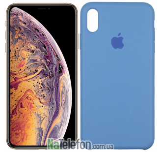 Оригинальный силиконовый чехол для iPhone Xs Max Морской Синий