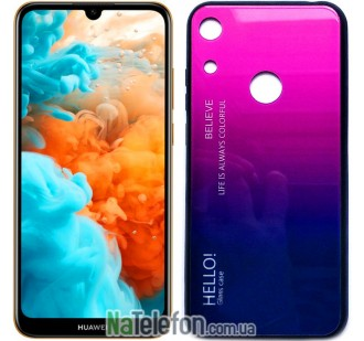 Чехол TPU Gradient HELLO Glass для Huawei Y6 2019 Розовый