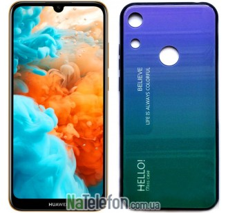 Чехол TPU Gradient HELLO Glass для Huawei Y6 2019 Голубой