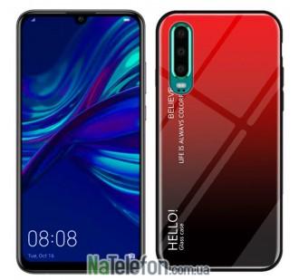 Чехол TPU Gradient HELLO Glass для Huawei P30 Lite Красный