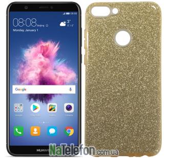 Чехол Silicone 3in1 Блёстки для Huawei P Smart Gold
