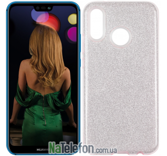 Чехол Silicone 3in1 Блёстки для Huawei P20 Lite Pink