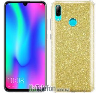 Чехол Silicone 3in1 Блёстки для Huawei P Smart 2019 Gold