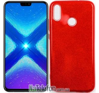 Чехол Silicone 3in1 Блёстки для Huawei Honor 8X Red