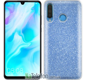 Чехол Silicone 3in1 Блёстки для Huawei P30 Lite Blue