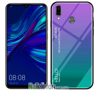 Чехол TPU Gradient HELLO Glass для Huawei P Smart 2019 Голубой