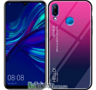Чехол TPU Gradient HELLO Glass для Huawei P Smart 2019 Розовый
