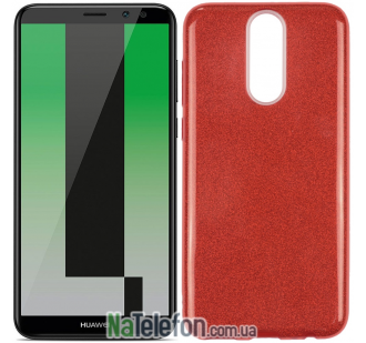 Чехол Silicone 3in1 Блёстки для Huawei Mate 10 Lite Red