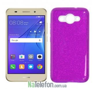 Чехол Silicone 3in1 Блёстки для Huawei Y3 2017 Purple