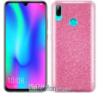 Чехол Silicone 3in1 Блёстки для Huawei P Smart 2019 Pink
